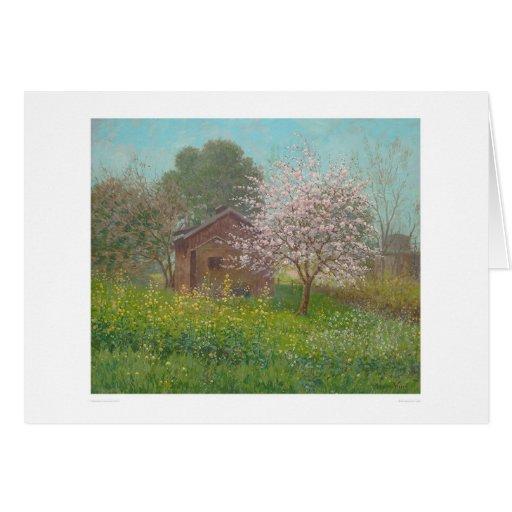 Flores y mostaza salvaje (1152) de la almendra tarjeta de felicitación