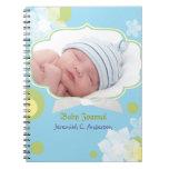 Flores y nuevo diario de la foto del bebé del bebé libreta espiral