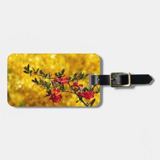 Flores y oro rojos etiqueta de maleta