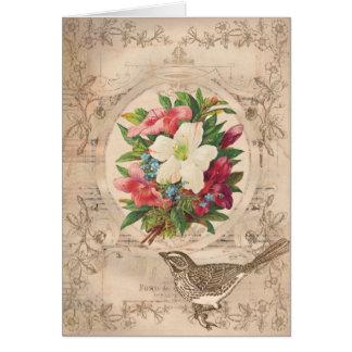 Flores y pájaro antiguos bonitos tarjeta