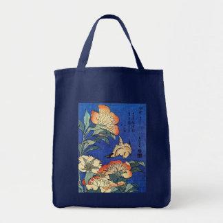 Flores y pájaro, Hokusai Bolsas
