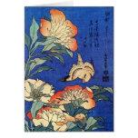 Flores y pájaro, Hokusai Felicitación