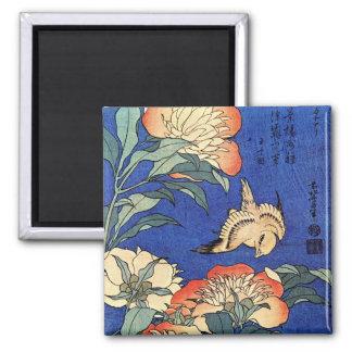 Flores y pájaro, Hokusai Imán Cuadrado