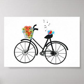 Flores y pájaro pasados de moda lindos de la bicic poster