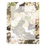 Flores y pájaros beige marrones del vintage plantilla de membrete