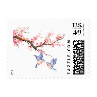 Flores y pájaros de la flor de cerezo sello