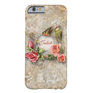 Flores y pájaros del vintage personalizados funda para iPhone 6 barely there