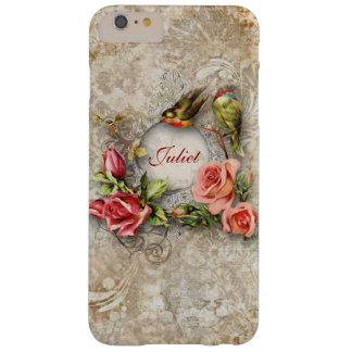 Flores y pájaros del vintage personalizados funda de iPhone 6 plus barely there