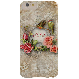Flores y pájaros del vintage personalizados funda de iPhone 6 plus barely there
