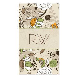 Flores y pájaros dibujados mano linda del estilo d plantilla de tarjeta de negocio