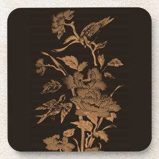Flores y pájaros, diseño gráfico Brown, ocre, sepi Posavasos