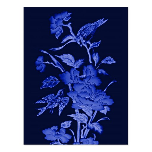 Flores y pájaros, diseño gráfico en azules tarjetas postales