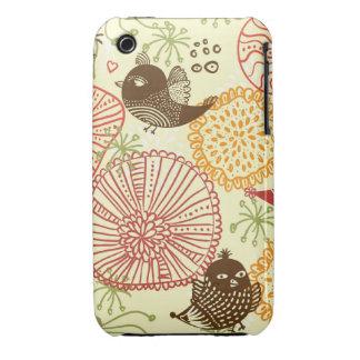 Flores y pájaros funda para iPhone 3 de Case-Mate