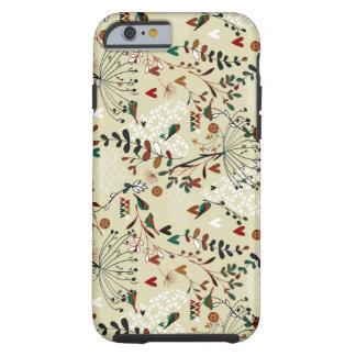 Flores y pájaros retros dibujados mano en colores funda de iPhone 6 tough