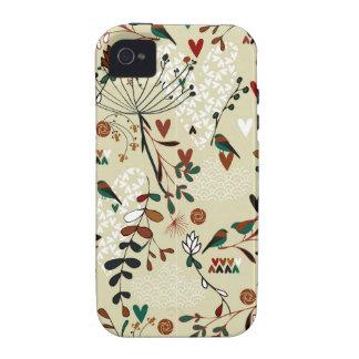 Flores y pájaros retros dibujados mano linda vibe iPhone 4 funda