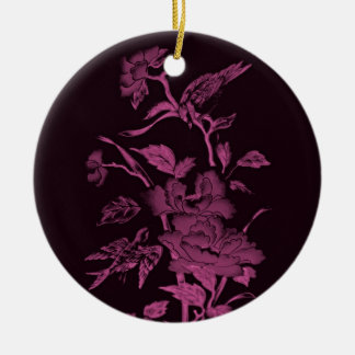 Flores y pájaros, rosa del diseño gráfico y negro adorno para reyes