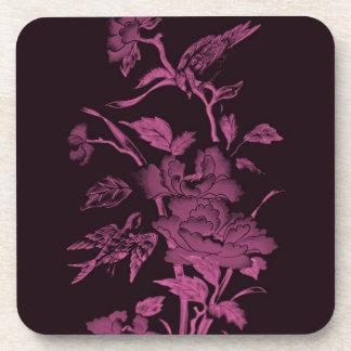 Flores y pájaros, rosa del diseño gráfico y negro posavasos