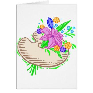 Flores y paleta del artista tarjeton