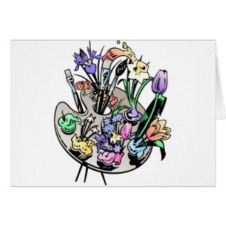 Flores y paleta del artista tarjeta de felicitación