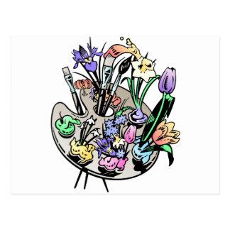 Flores y paleta del artista tarjetas postales