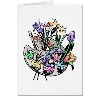 Flores y paleta del artista tarjetas