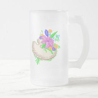 Flores y paleta del artista taza cristal mate