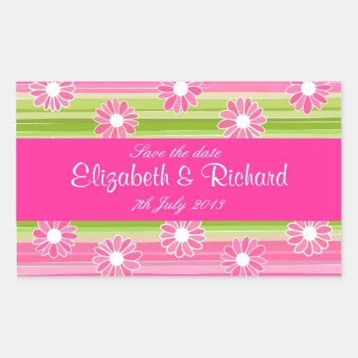 Flores y pegatina verdes y rosados de las rayas