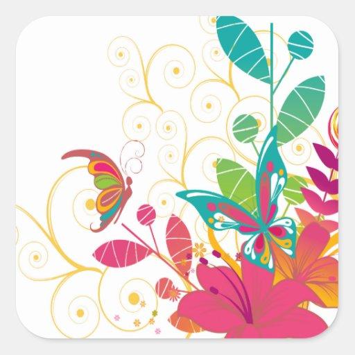 Flores y pegatinas cuadrados de la mariposa calcomanía cuadrada