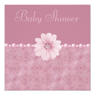 """Flores y perlas rosadas de Bling de la fiesta de Invitación 5.25"""" X 5.25"""""""
