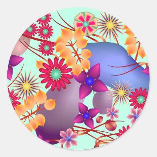 Flores y piedras coloridas del verano pegatina