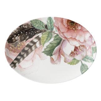 Flores y plumas de Boho Badeja De Porcelana