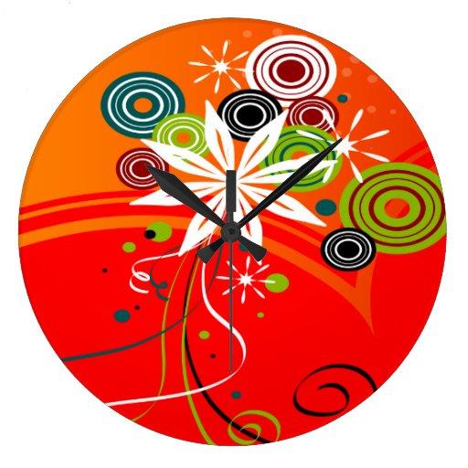 Flores y puntos de la explosión del naranja reloj redondo grande