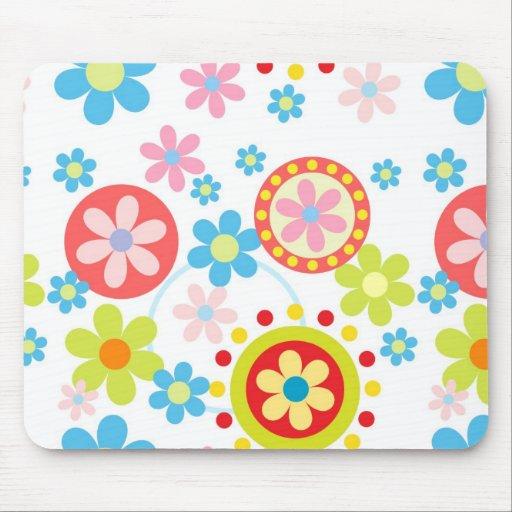 Flores y puntos felices mouse pad