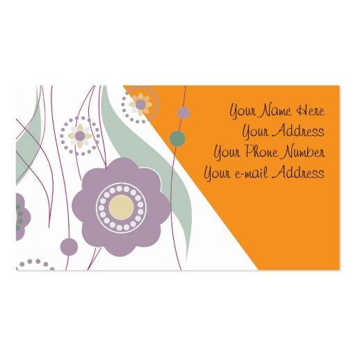 Flores y puntos tarjetas de visita