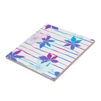 Flores y rayas coloridas del hibisco azulejo cuadrado pequeño