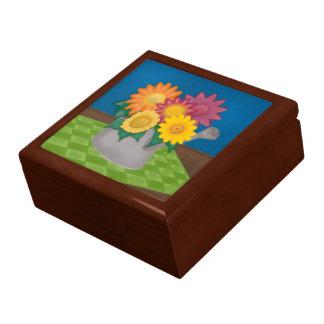 Flores y regadera coloridas Giftbox de madera Joyero Cuadrado Grande