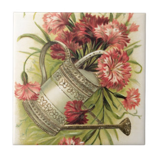 Flores y regadera de la primavera azulejo cuadrado pequeño