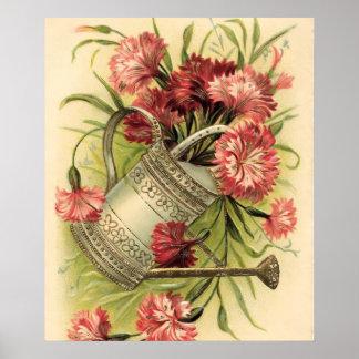 Flores y regadera de la primavera póster