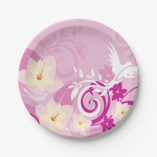 Flores y remolinos platos de papel
