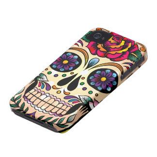 Flores y rosas retros coloridos del cráneo iPhone 4 Case-Mate protector