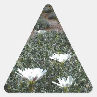 Flores y Sagebrush salvajes del desierto Calcomanías De Trianguloes Personalizadas
