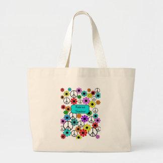 Flores y signos de la paz retros jubilados del pro bolsa tela grande
