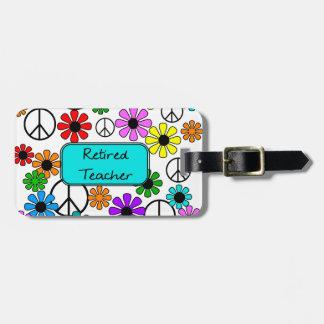Flores y signos de la paz retros jubilados del pro etiquetas de maletas