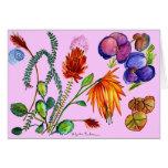 Flores y sueños de las hojas en púrpura tarjeta