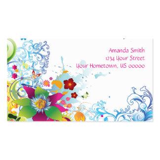 Flores y tarjeta de visita tropicales abstractas d