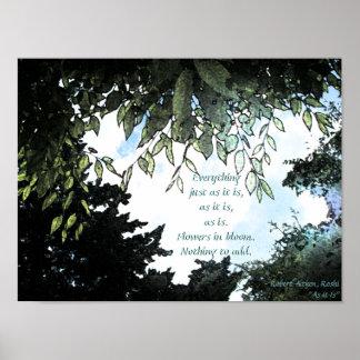 Flores y todo impresión del Haiku Póster