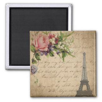 Flores y torre Eiffel francesas Imán Cuadrado