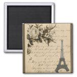Flores y torre Eiffel francesas viejas Imán Para Frigorífico