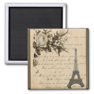 Flores y torre Eiffel francesas viejas Imán Cuadrado