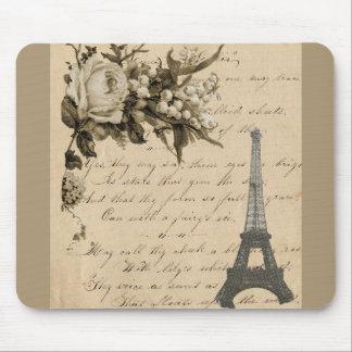 Flores y torre Eiffel francesas viejas Mousepad